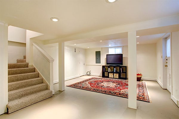 Basement room remodeled by professional contractor